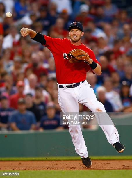 Stephen Drew of the Boston Red Sox throws to first base against the Kansas City Royals during the game at Fenway Park on July 18 2014 in Boston...