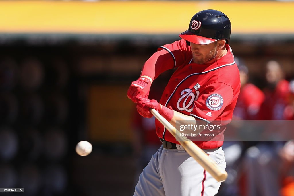 Stephen Drew #10 of the Washington Nationals bats against the Oakland Athletics during the MLB game at Oakland Coliseum on June 3, 2017 in Oakland, California.