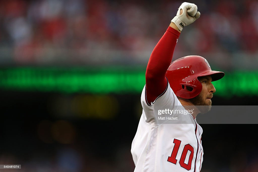 Stephen Drew #10 of the Washington Nationals celebrates after hitting a solo home run in the eighth inning against the Chicago Cubs at Nationals Park on June 15, 2016 in Washington, DC.