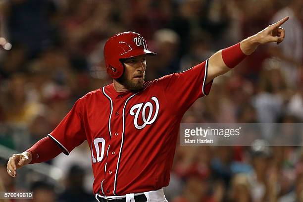 Stephen Drew of the Washington Nationals celebrates after scoring in the second inning against the Pittsburgh Pirates at Nationals Park on July 16...