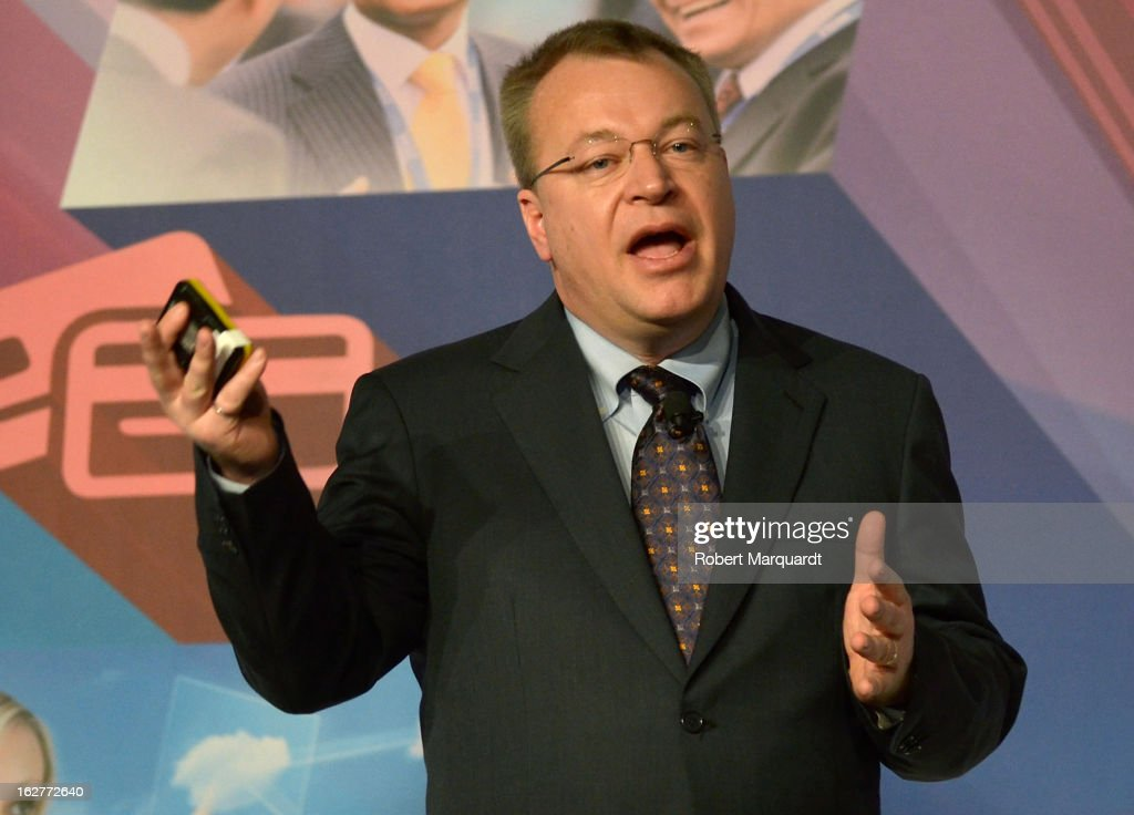 <a gi-track='captionPersonalityLinkClicked' href=/galleries/search?phrase=Stephen+Elop&family=editorial&specificpeople=7180953 ng-click='$event.stopPropagation()'>Stephen Elop</a>, CEO of Nokia speaks during a keynote presentation at the Mobile World Congress 2013 on February 26, 2013 in Barcelona, Spain. The annual Mobile World Congress hosts some of the world's largest communication companies, with many unveiling their latest phones and gadgets. The show runs from February 25 - February 28