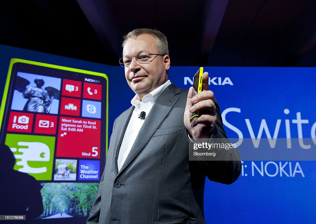 <a gi-track='captionPersonalityLinkClicked' href=/galleries/search?phrase=Stephen+Elop&family=editorial&specificpeople=7180953 ng-click='$event.stopPropagation()'>Stephen Elop</a>, chief executive officer of Nokia Oyj, holds the Nokia Lumia 920 during a news conference in New York, U.S., on Wednesday, Sept. 5, 2012. Nokia Oyj unveiled two smartphones using Microsoft Corp.'s new Windows Phone software, betting on the devices to win back sales lost to the iPhone and Android handset makers. Photographer: Jin Lee/Bloomberg via Getty Images