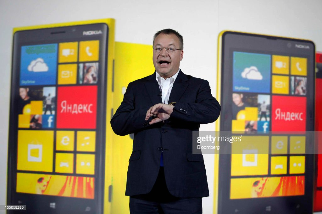 Stephen Elop, chief executive officer of Nokia Oyj, presents the new Windows-operated Nokia Lumia 920 smartphone at a news conference in Moscow, Russia, on Tuesday, Nov. 6, 2012. Microsoft is considering building mobile hardware as a backup, in the event that its current approach of providing software to handset makers such as Nokia Oyj and HTC Corp. falters, said the people, who requested anonymity because the plans are private. Photographer: Alexander Zemlianichenko Jr./Bloomberg via Getty Images