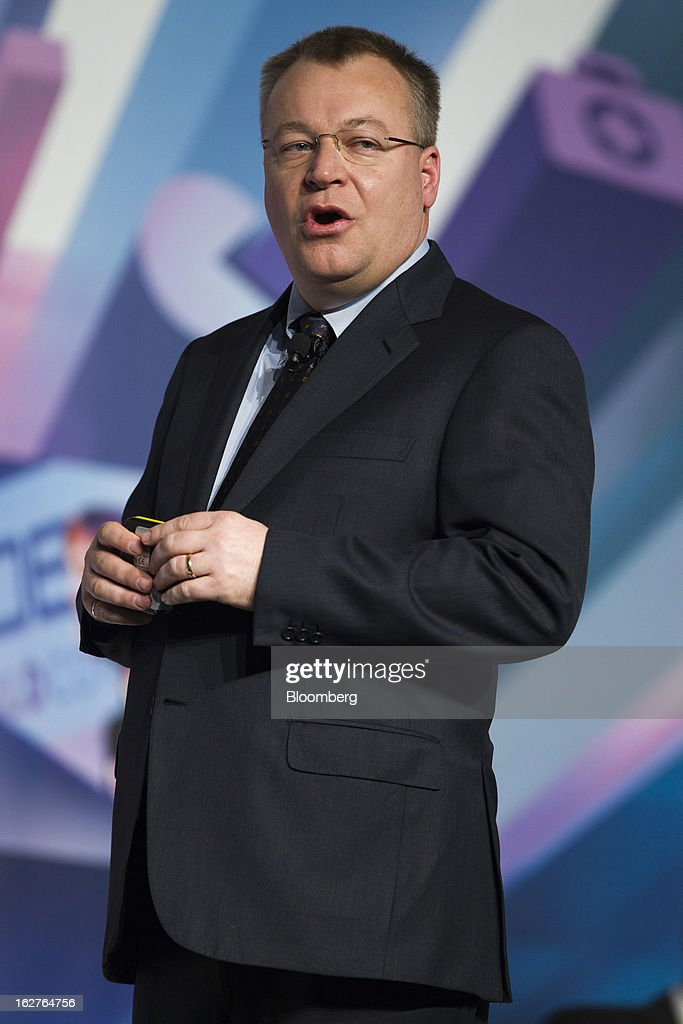 <a gi-track='captionPersonalityLinkClicked' href=/galleries/search?phrase=Stephen+Elop&family=editorial&specificpeople=7180953 ng-click='$event.stopPropagation()'>Stephen Elop</a>, chief executive officer of Nokia Oyj, speaks during a keynote address at the Mobile World Congress in Barcelona, Spain, on Tuesday, Feb. 26, 2013. The Mobile World Congress, where 1,500 exhibitors converge to discuss the future of wireless communication, is a global showcase for the mobile technology industry and runs from Feb. 25 through Feb. 28. Photographer: Angel Navarrete/Bloomberg via Getty Images