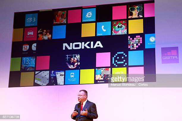 Stephen Elop chief executive officer of Nokia speaks during a keynote event at the Mobile World Congress in Barcelona on February 29 2012 on the...