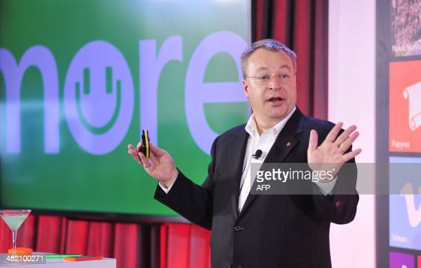 Stephen Elop Executive Vice President of Devices and Services for Nokia speaks at More Lumia a media event in San Francisco California on Wednesday...