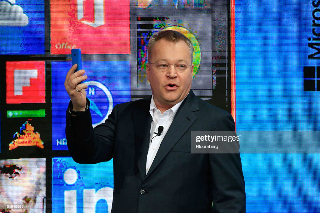 <a gi-track='captionPersonalityLinkClicked' href=/galleries/search?phrase=Stephen+Elop&family=editorial&specificpeople=7180953 ng-click='$event.stopPropagation()'>Stephen Elop</a>, executive vice president of devices and studio for Microsoft Corp., speaks as he unveils the new Windows Lumia 640 smartphone in the Microsoft Corp. pavilion at the Mobile World Congress in Barcelona, Spain, on Monday, March 2, 2015. The event, which generates several hundred million euros in revenue for the city of Barcelona each year, also means the world for a week turns its attention back to Europe for the latest in technology, despite a lagging ecosystem. Photographer: Pau Barrena/Bloomberg via Getty Images
