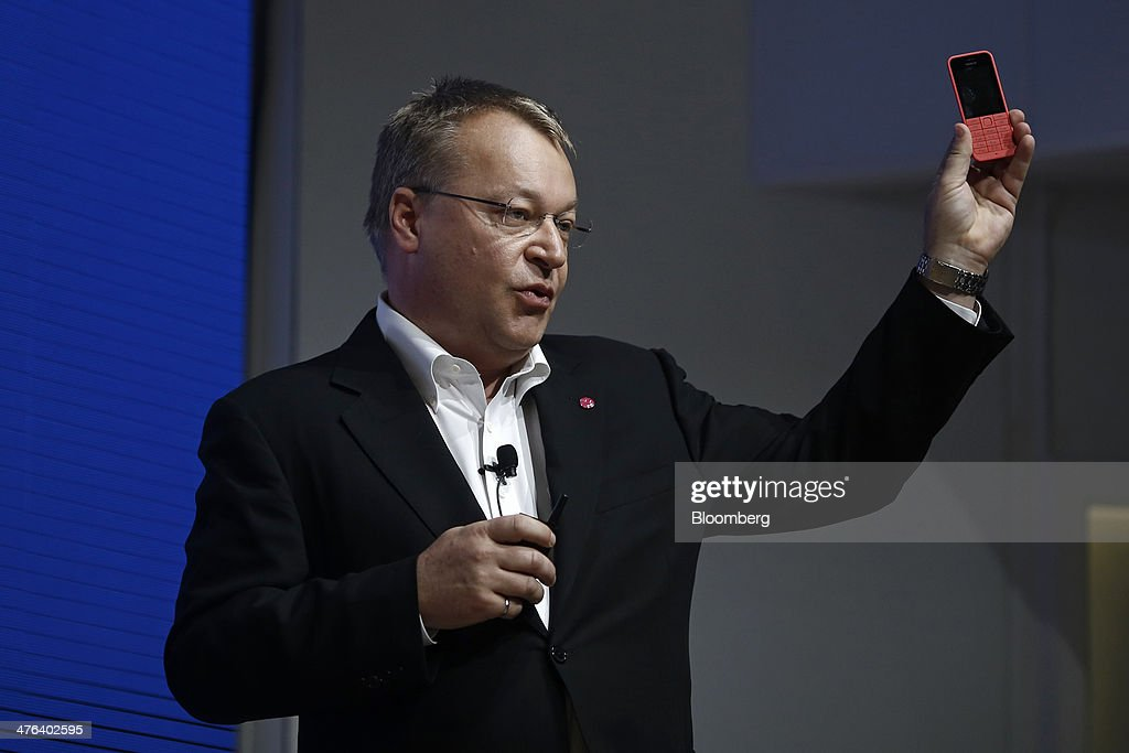 <a gi-track='captionPersonalityLinkClicked' href=/galleries/search?phrase=Stephen+Elop&family=editorial&specificpeople=7180953 ng-click='$event.stopPropagation()'>Stephen Elop</a>, head of devices at Nokia Oyj, holds a Nokia Asha 200 low cost budget mobile smartphone during a news conference on the opening day of the Mobile World Congress in Barcelona, Spain, on Monday, Feb. 24, 2014. Top telecommunication managers will rub shoulders in Barcelona this week at the Mobile World Congress, Monday, Feb. 24 - 27, a traditional venue for showcasing the latest products for dealmaking. Photographer: Simon Dawson/Bloomberg via Getty Images