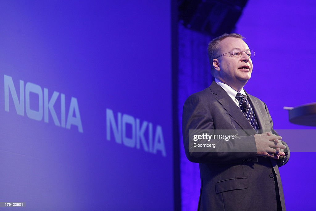 <a gi-track='captionPersonalityLinkClicked' href=/galleries/search?phrase=Stephen+Elop&family=editorial&specificpeople=7180953 ng-click='$event.stopPropagation()'>Stephen Elop</a>, outgoing chief executive officer of Nokia Oyj, speaks during a news conference at the Dipoli conference center in Espoo, Finland, on Tuesday, Sept. 3, 2013. Microsoft Corp. agreed to buy Nokia Oyj's handset business and license its patents for 5.44 billion euros ($7.2 billion), casting together the lot of two companies trying to stay relevant against fleet-footed technology rivals. Photographer: Ville Mannikko/Bloomberg via Getty Images