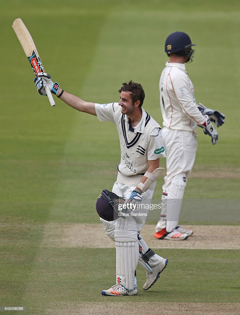 Stephen Eskanazi of Middlesex celebrates reaching his century during day three of the Specsavers County Championship division one match between Middlesex and Lancashire at Lords on June 28, 2016 in London, England.