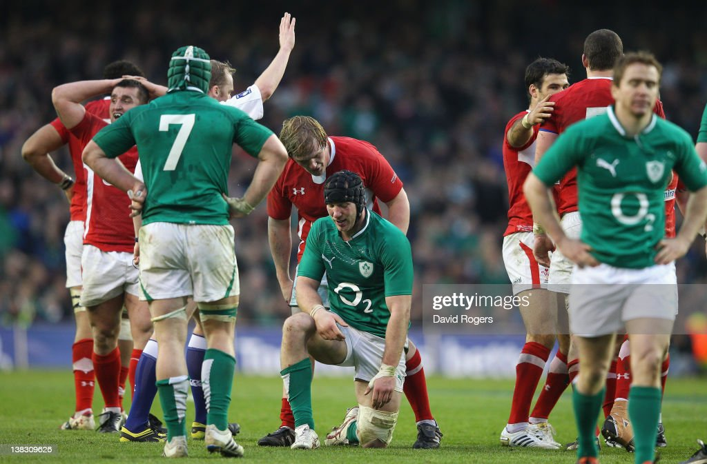 <a gi-track='captionPersonalityLinkClicked' href=/galleries/search?phrase=Stephen+Ferris&family=editorial&specificpeople=3968477 ng-click='$event.stopPropagation()'>Stephen Ferris</a> of Ireland looks dejected after being penalised in the last minute, by referee Wayne Barnes during the RBS Six Nations match between Ireland and Wales at the Aviva Stadium on February 5, 2012 in Dublin, Ireland