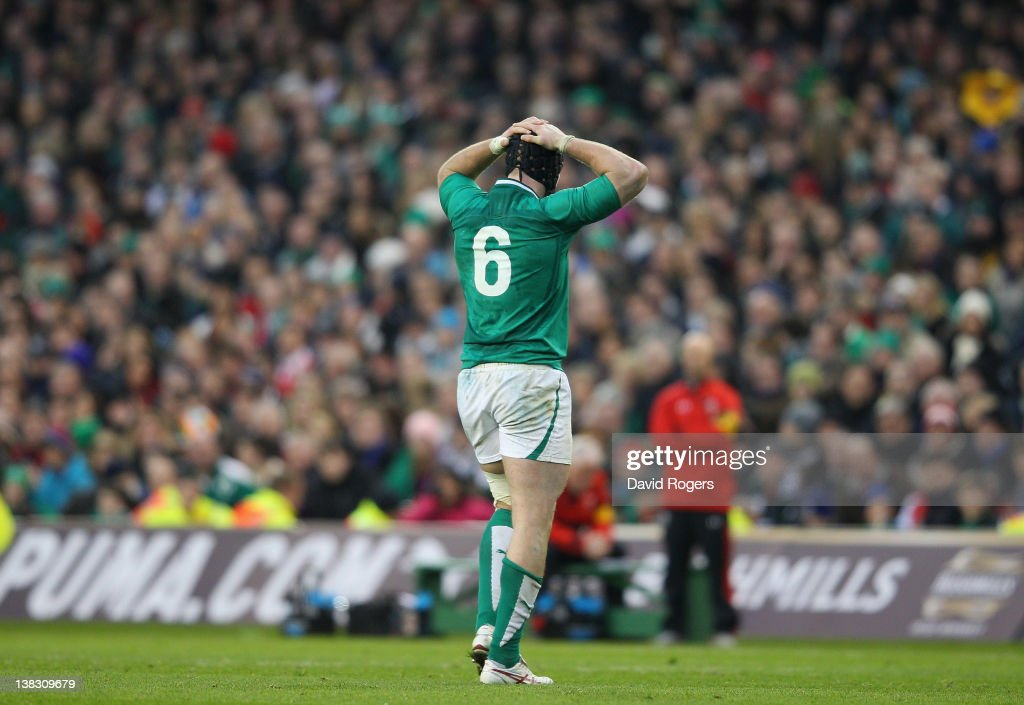 <a gi-track='captionPersonalityLinkClicked' href=/galleries/search?phrase=Stephen+Ferris&family=editorial&specificpeople=3968477 ng-click='$event.stopPropagation()'>Stephen Ferris</a> of Ireland walks off the field having being sin binned by referee Wayne Barnes, which resulted in a last minute penalty being awarded to Wales during the RBS Six Nations match between Ireland and Wales at the Aviva Stadium on February 5, 2012 in Dublin, Ireland
