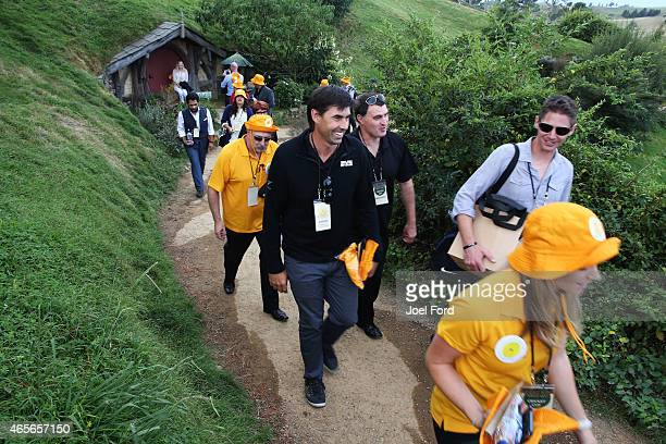 Stephen Fleming at the Hobbiton Movie Set prior to taking part in a backyard cricket match captained by Kiwi cricket greats Sir Richard Hadlee and...