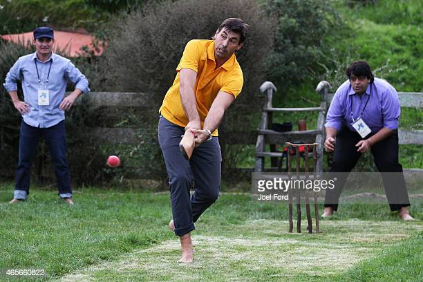 Stephen Fleming bats during a backyard cricket match captained by Kiwi cricket greats Sir Richard Hadlee and Stephen Fleming under the famed 'party...