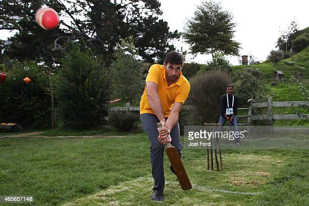 Stephen Fleming plays a shot during a backyard cricket match captained by Kiwi cricket greats Sir Richard Hadlee and Stephen Fleming under the famed...