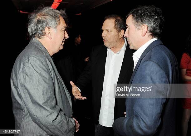 Stephen Frears Harvey Weinstein and Steve Coogan attend the Moet Reception at the Moet British Independent Film Awards 2013 at Old Billingsgate...
