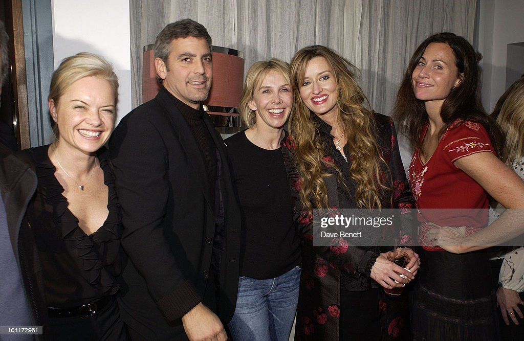 Stephen Frears, Mariella Frostrup, George Clooney,trudie Styler, Natasha Mcelhone And Minnie Driver, Charity Screening And Party For The Movie Ôsolaris' Hosted By Harpers And Queen In Aid Of Ôfacing The World' A Charity Which Helps Children From Poor Countries To Recieve Plastic Surgery (natasha Mcelhone's Husband Is One Of The Charity's Leading Surgeons), At The Electric Cinema, Notting Hill, London