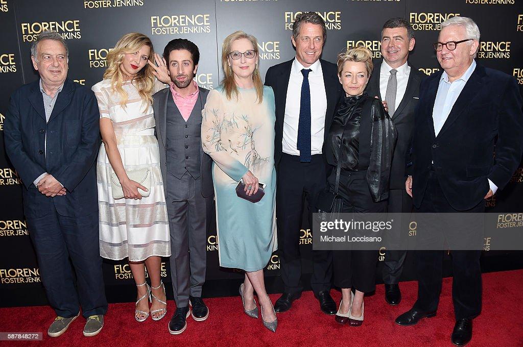 Stephen Frears Nina Arianda Simon Helberg Meryl Streep Hugh Grant Tracey Seaward and Nicholas Martin attend the 'Florence Foster Jenkins' New York...