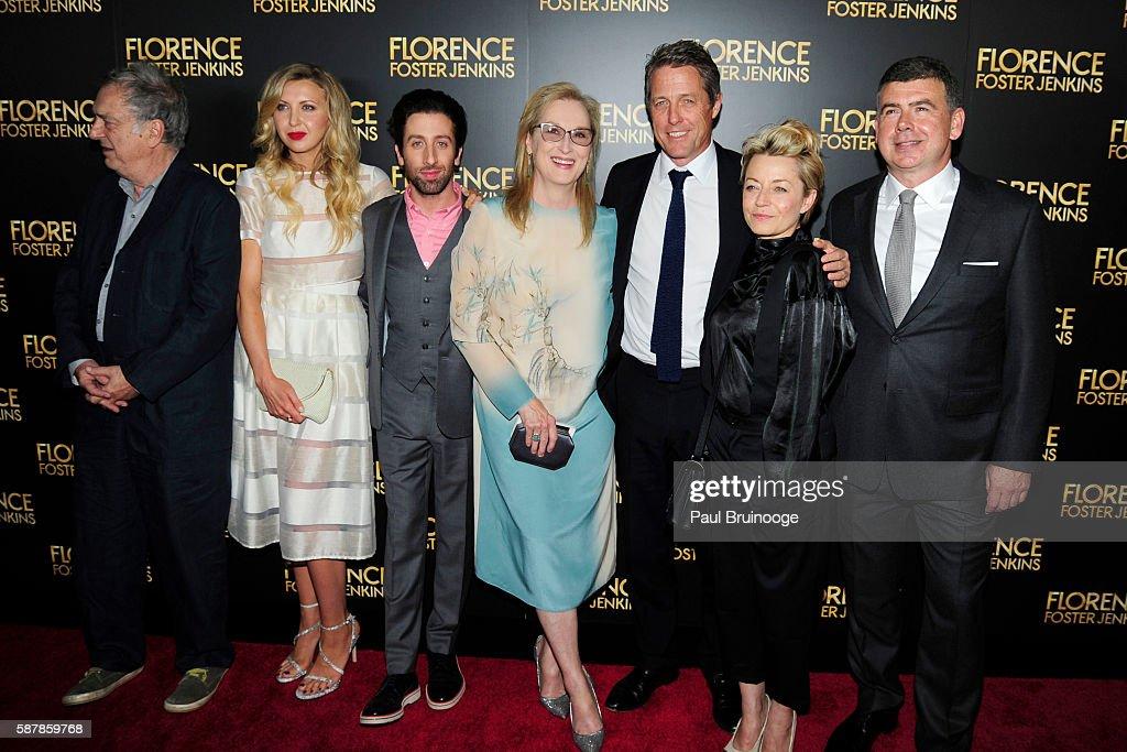 Stephen Frears Nina Arianda Simon Helberg Meryl Streep Hugh Grant Tracey Seaward and Nicholas Martin attend Paramount Pictures Presents the New York...