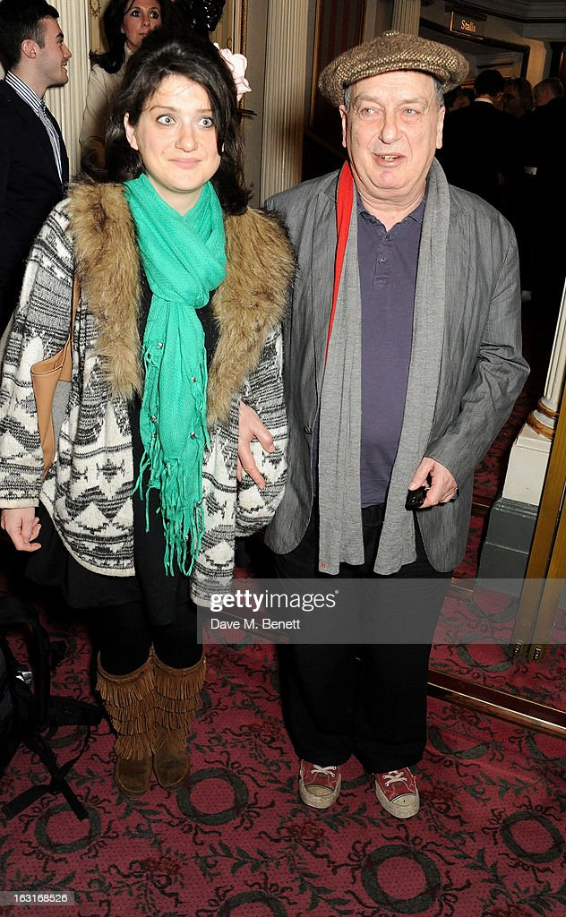 <a gi-track='captionPersonalityLinkClicked' href=/galleries/search?phrase=Stephen+Frears&family=editorial&specificpeople=238980 ng-click='$event.stopPropagation()'>Stephen Frears</a> (R) the press night performance of 'The Audience' at the Gielgud Theatre on March 5, 2013 in London, England.