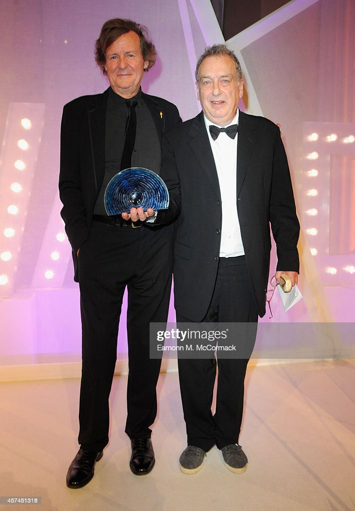 Stephen Frears with the Fellowship award with David Hare at the BFI London Film Festival Awards during the 58th BFI London Film Festival on October...