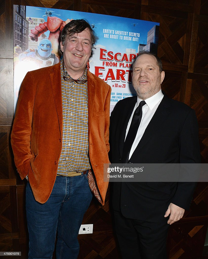 Stephen Fry and Harvey Weinstein attend a VIP screening of Harvey Weinstein's 'Escape From Planet Earth' at The W Hotel on February 27, 2014 in London, England.