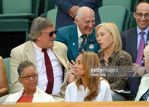 Stephen Fry and Martina Navratilova attend day ten of the Wimbledon Tennis Championships at Wimbledon on July 9 2015 in London England
