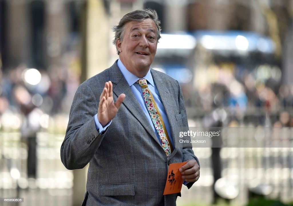 Stephen Fry arrives for a Service of Thanksgiving for the life and work of Lord Snowdon at Westminster Abbey on April 7, 2017 in London, United Kingdom.