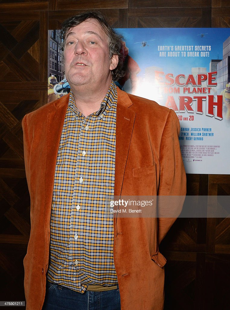 Stephen Fry attends a VIP screening of Harvey Weinstein's 'Escape From Planet Earth' at The W Hotel on February 27, 2014 in London, England.