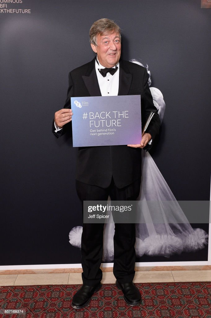 Stephen Fry attends the BFI Luminous Fundraising Gala at The Guildhall on October 3, 2017 in London, England.