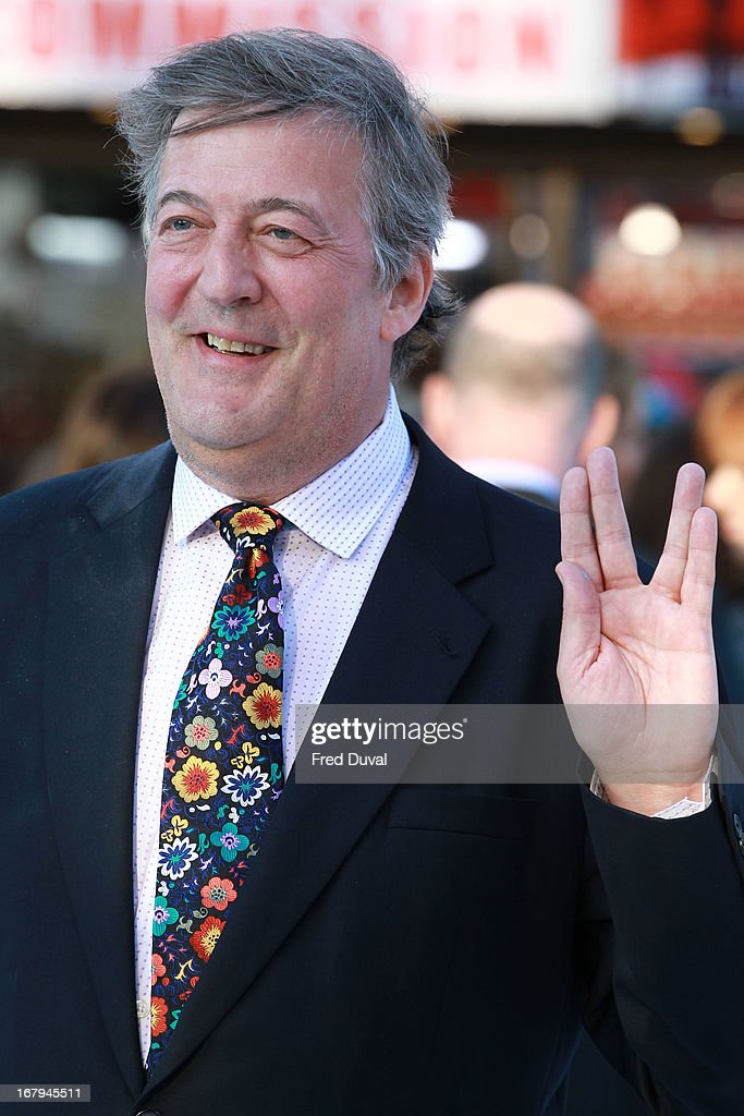 <a gi-track='captionPersonalityLinkClicked' href=/galleries/search?phrase=Stephen+Fry&family=editorial&specificpeople=210809 ng-click='$event.stopPropagation()'>Stephen Fry</a> attends the UK Premiere of 'Star Trek Into Darkness' at The Empire Cinema on May 2, 2013 in London, England.