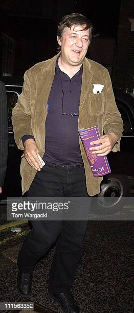 Stephen Fry during Celebrity Sightings at The Ivy October 18 2005 at The Ivy in London Great Britain