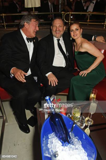 Stephen Fry Harvey Weinstein and Amy Adams attend The Weinstein Company Entertainment Film Distributors Studiocanal 2017 BAFTA After Party in...