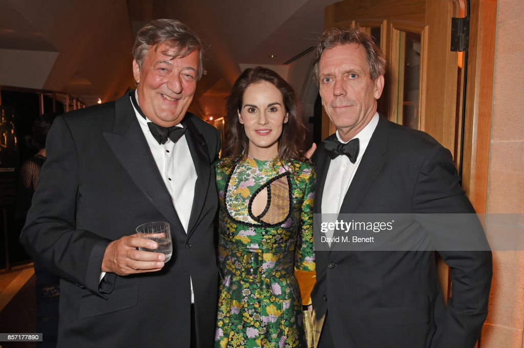 Stephen Fry, Michelle Dockery and Hugh Laurie attend the BFI and IWC Luminous Gala at The Guildhall on October 3, 2017 in London, England.