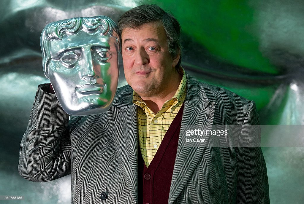 <a gi-track='captionPersonalityLinkClicked' href=/galleries/search?phrase=Stephen+Fry&family=editorial&specificpeople=210809 ng-click='$event.stopPropagation()'>Stephen Fry</a> poses on stage with a BAFTA mask ahead of the British Academy Film Awards at The Royal Opera House on February 5, 2015 in London, England. The annual BAFTA's will be held on Sunday February 08, 2015.