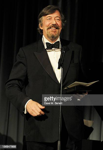 Stephen Fry presents an award at the 58th London Evening Standard Theatre Awards in association with Burberry at The Savoy Hotel on November 25 2012...