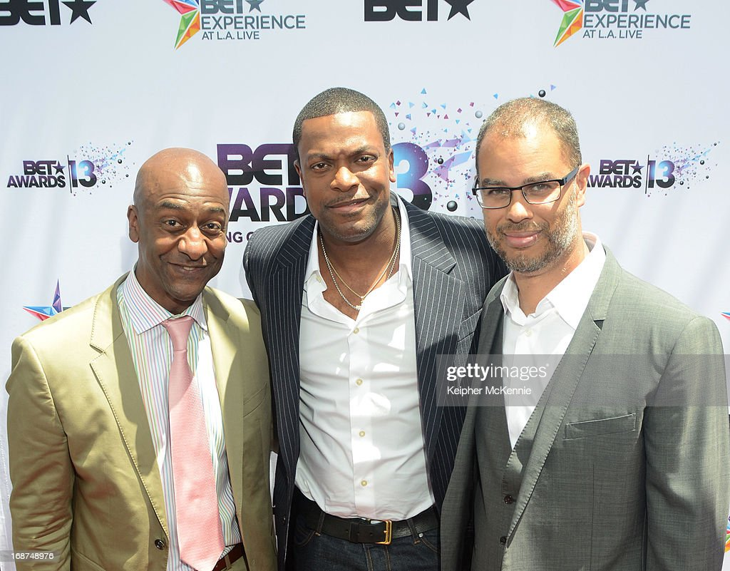Stephen G. Hill, <a gi-track='captionPersonalityLinkClicked' href=/galleries/search?phrase=Chris+Tucker&family=editorial&specificpeople=203254 ng-click='$event.stopPropagation()'>Chris Tucker</a> and guest on the red carpet at the 2013 BET Awards press conference at Icon Ultra Lounge on May 14, 2013 in Los Angeles, California.