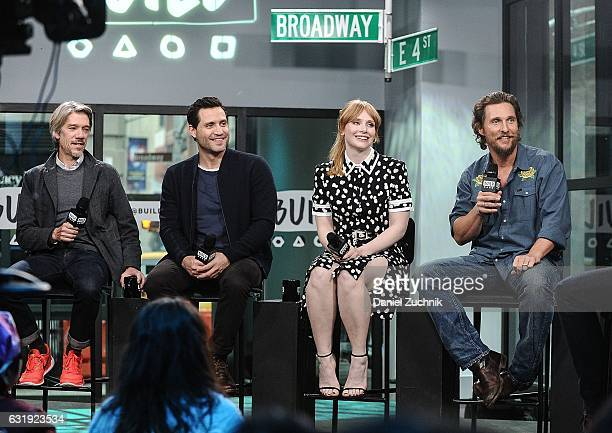 Stephen Gaghan Edgar Ramirez Bryce Dallas Howard and Matthew McConaughey attend the Build Series to discuss the new film 'Gold' at Build Studio on...