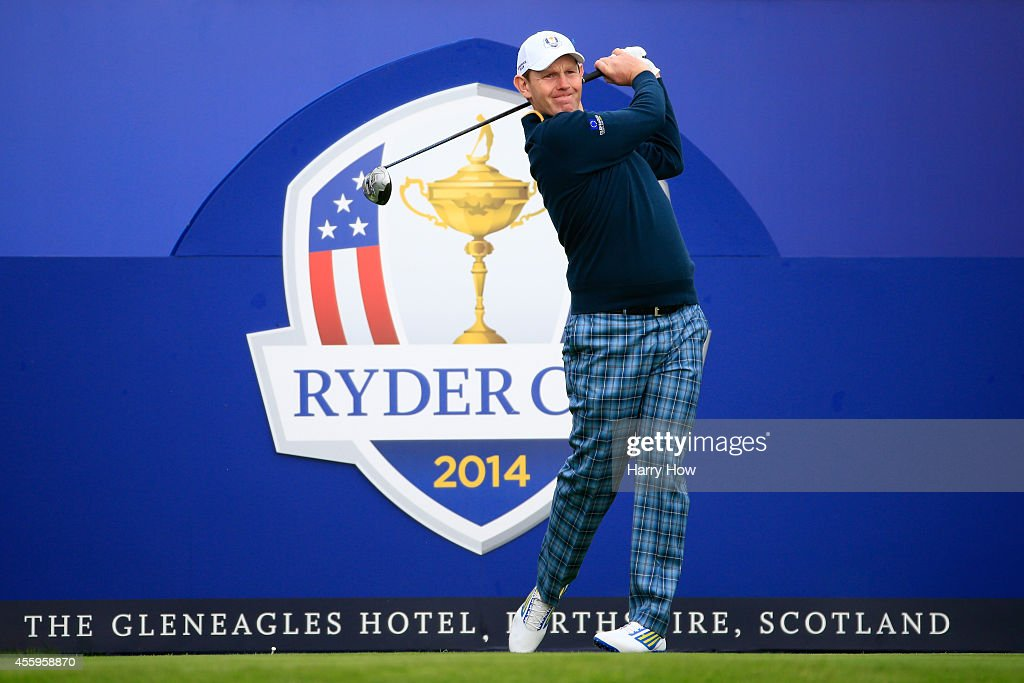 <a gi-track='captionPersonalityLinkClicked' href=/galleries/search?phrase=Stephen+Gallacher&family=editorial&specificpeople=215277 ng-click='$event.stopPropagation()'>Stephen Gallacher</a> of Europe tees off during practice ahead of the 2014 Ryder Cup on the PGA Centenary course at the Gleneagles Hotel on September 23, 2014 in Auchterarder, Scotland.
