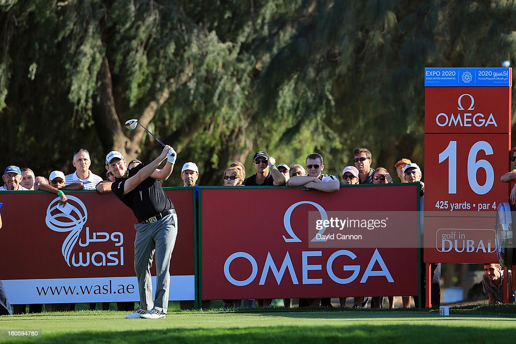 Stephen Gallacher of Scotland during the final round of the 2013 Omega Dubai Desert Classic on the Majilis Course at the Emirates Golf Club on February 3, 2013 in Dubai, United Arab Emirates.