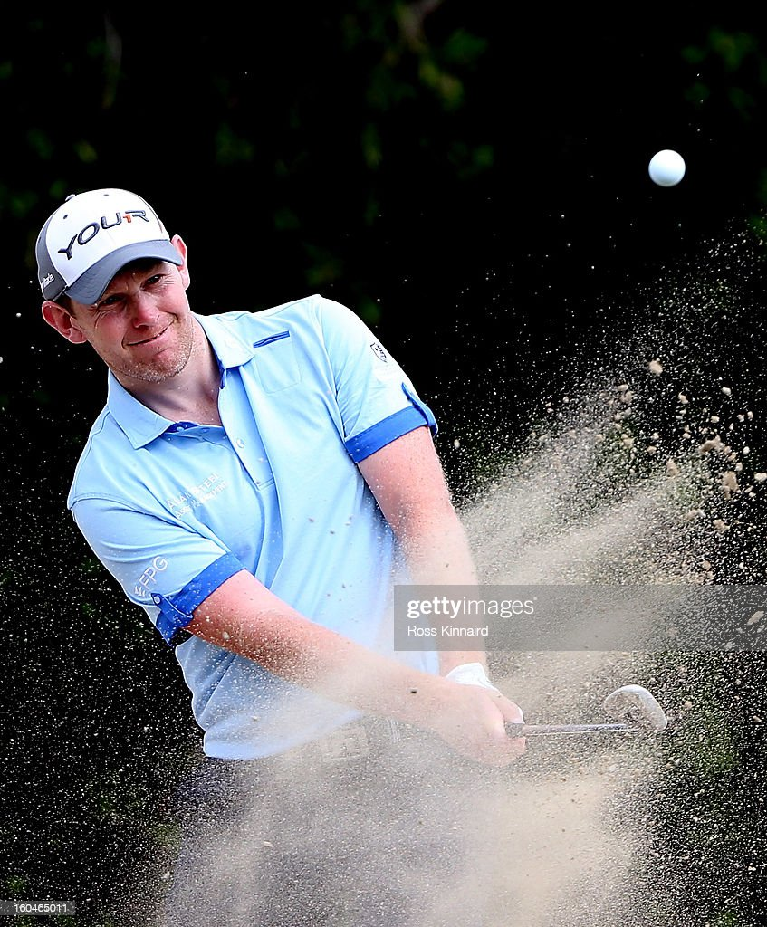 <a gi-track='captionPersonalityLinkClicked' href=/galleries/search?phrase=Stephen+Gallacher&family=editorial&specificpeople=215277 ng-click='$event.stopPropagation()'>Stephen Gallacher</a> of Scotland during the second round of the Omega Dubai Desert Classic on February 1, 2013 in Dubai, United Arab Emirates.