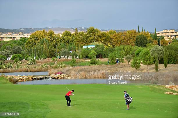 Stephen Gallacher of Scotland hits an approach during day four of the Portugal Masters at Victoria Clube de Golfe on October 23 2016 in Vilamoura...