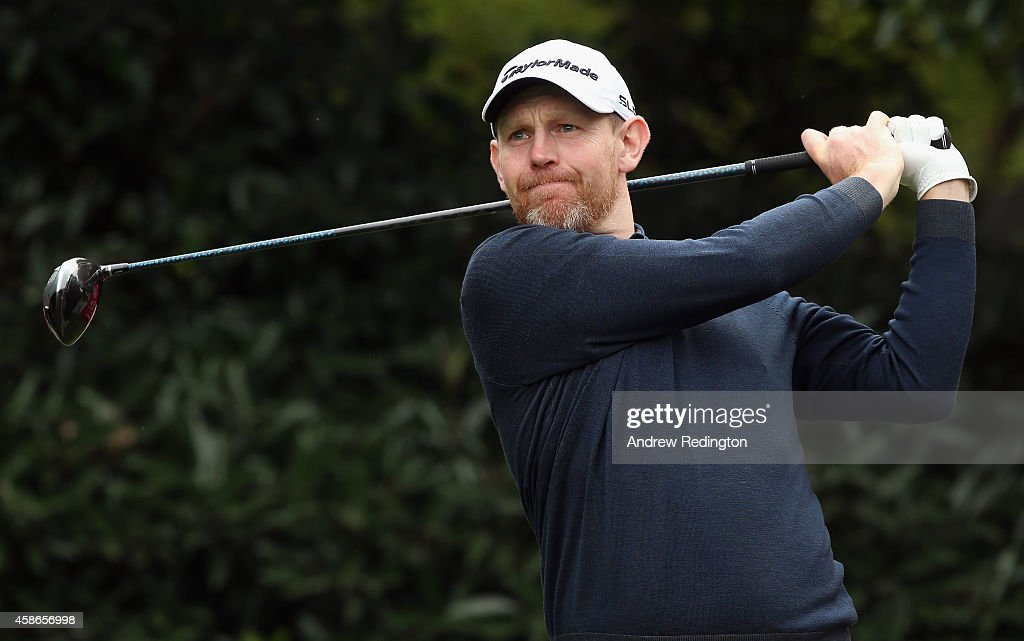 <a gi-track='captionPersonalityLinkClicked' href=/galleries/search?phrase=Stephen+Gallacher&family=editorial&specificpeople=215277 ng-click='$event.stopPropagation()'>Stephen Gallacher</a> of Scotland hits his tee-shot on the fifth hole during the final round of the WGC - HSBC Champions at the Sheshan International Golf Club on November 9, 2014 in Shanghai, China.