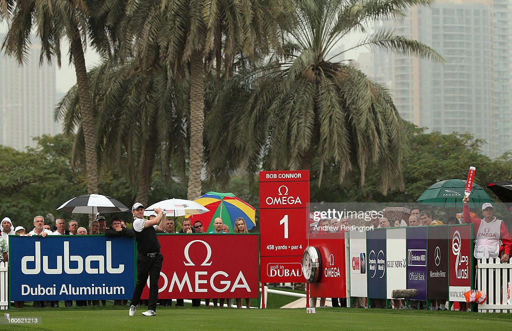 Stephen Gallacher of Scotland hits his tee-shot on the first hole during the third round of the Omega Dubai Desert Classic at Emirates Golf Club on February 2, 2013 in Dubai, United Arab Emirates.