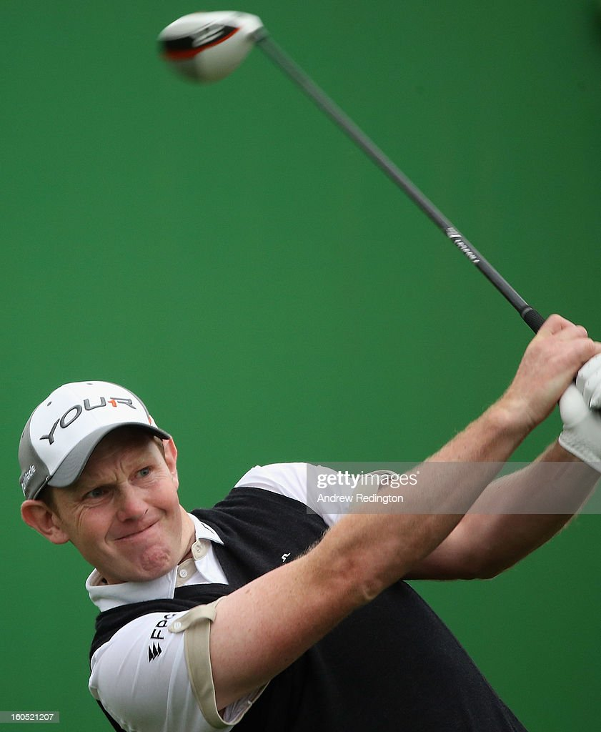 Stephen Gallacher of Scotland hits his tee-shot on the second hole during the third round of the Omega Dubai Desert Classic at Emirates Golf Club on February 2, 2013 in Dubai, United Arab Emirates.