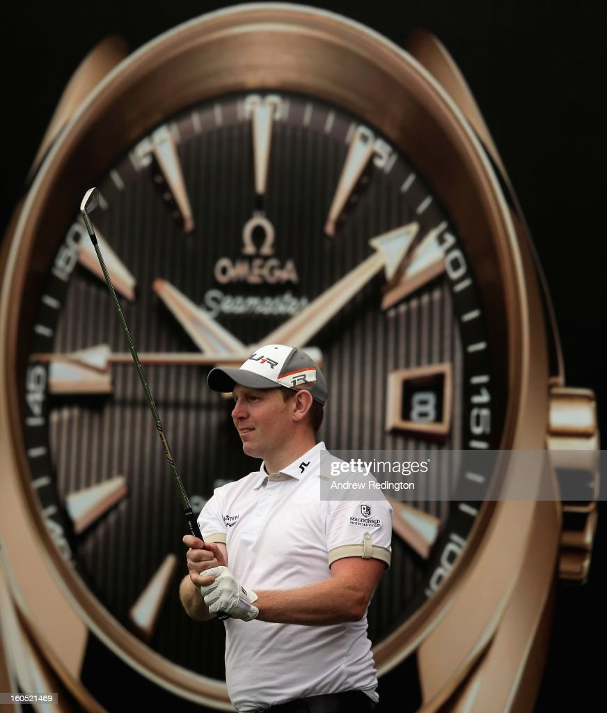 Stephen Gallacher of Scotland hits his tee-shot on the seventh hole during the third round of the Omega Dubai Desert Classic at Emirates Golf Club on February 2, 2013 in Dubai, United Arab Emirates.