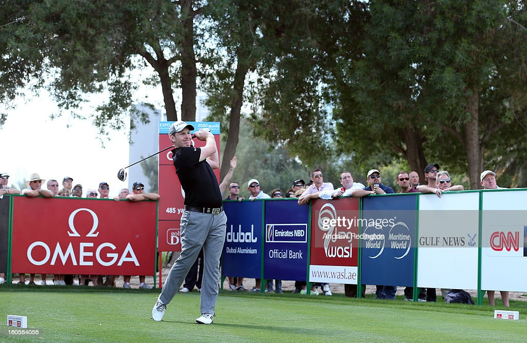 Stephen Gallacher of Scotland hits his tee-shot on the sixth hole during the final round of the Omega Dubai Desert Classic at Emirates Golf Club on February 3, 2013 in Dubai, United Arab Emirates.