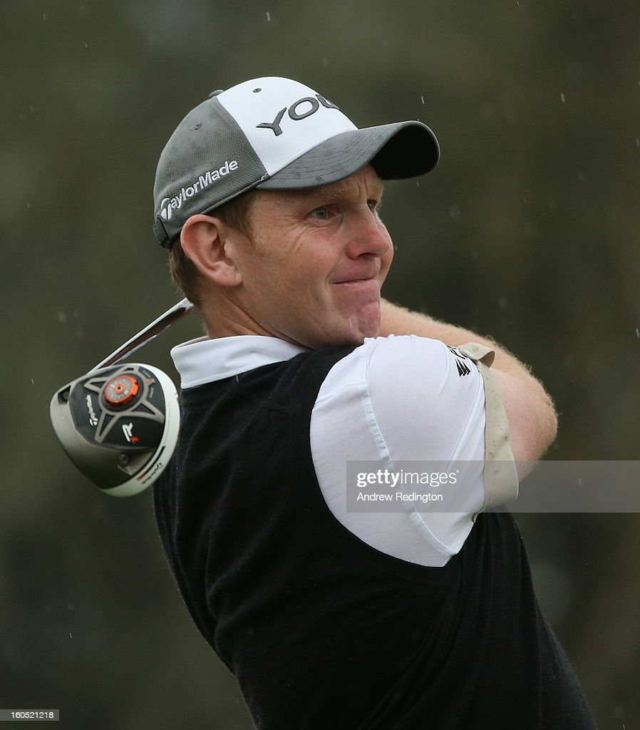 Stephen Gallacher of Scotland hits his tee-shot on the third hole during the third round of the Omega Dubai Desert Classic at Emirates Golf Club on February 2, 2013 in Dubai, United Arab Emirates.