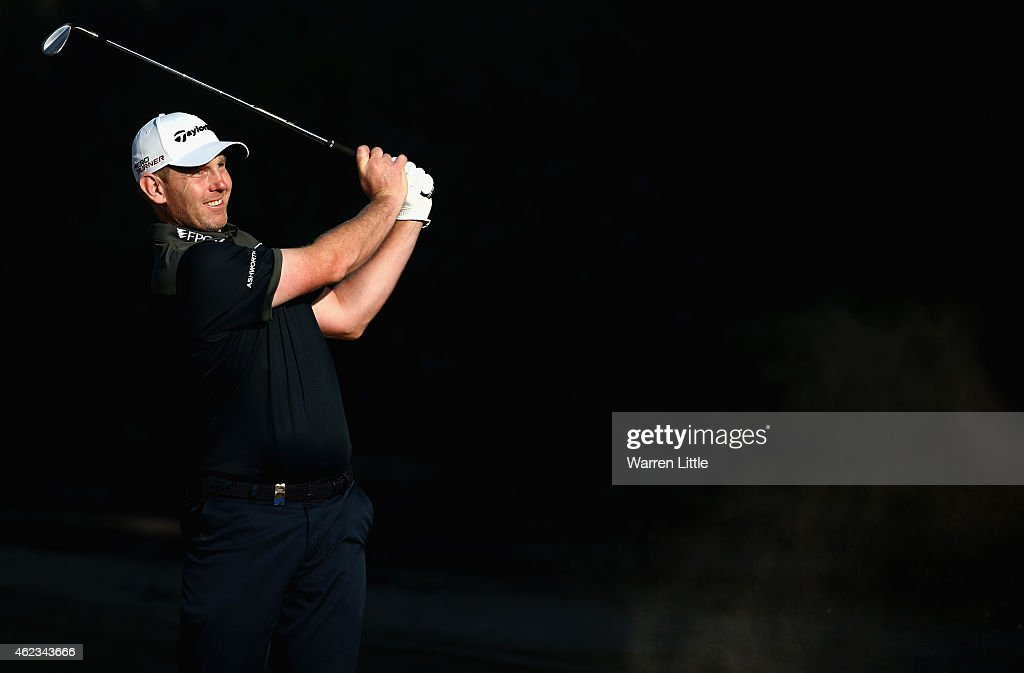 Stephen Gallacher of Scotland in action during the Challenge Match ahead of the Omega Dubai Desert Classic on the Majlis Course at the Emirates Golf Club on January 27, 2015 in Dubai, United Arab Emirates.