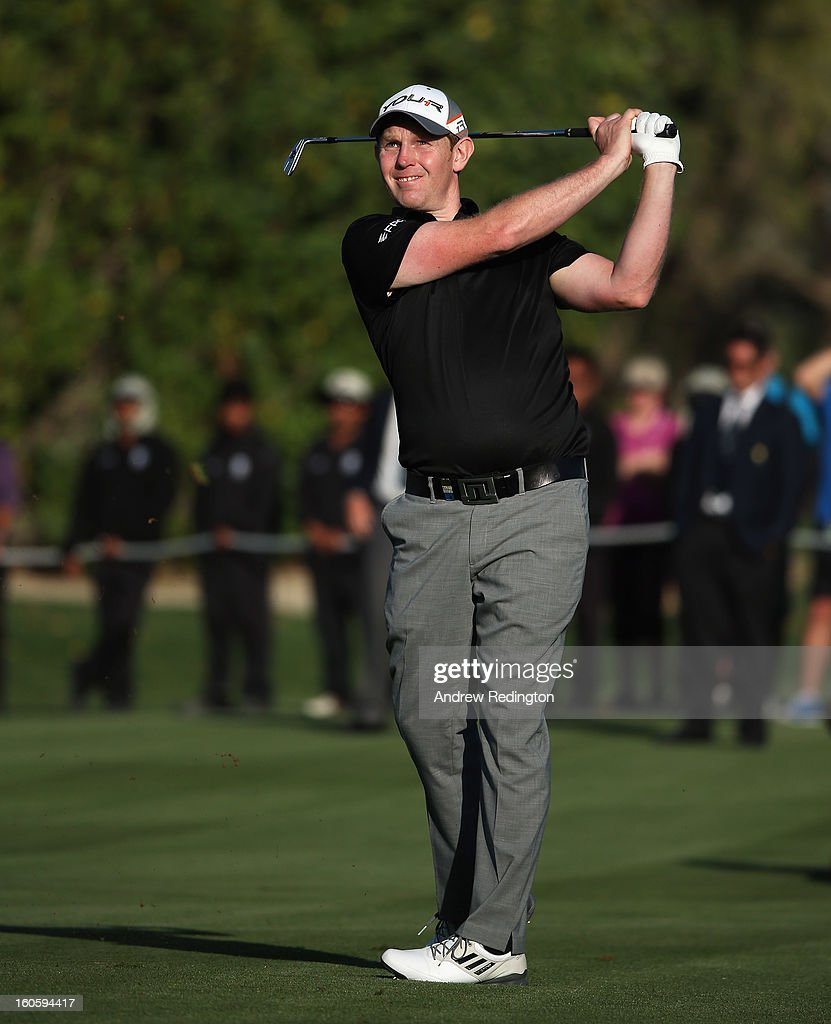 Stephen Gallacher of Scotland in action during the final round of the Omega Dubai Desert Classic at Emirates Golf Club on February 3, 2013 in Dubai, United Arab Emirates.